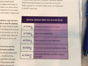 Mental Health First Aide Training Action List
