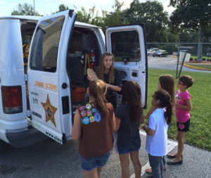 Girl scout tour 2015 stover at van with cast