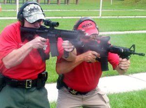 gun firing with sheriffs