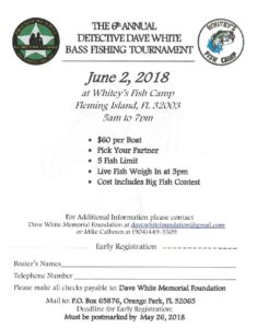 The 6th annual detective Dave white bass fishing tournament