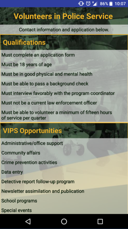 Volunteer Page of the mobile application