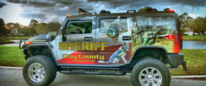 CCSO Hummer parked on the side of the road