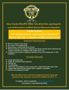 CCSO SRO Recruitment Flyer