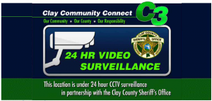 "Clay Community Connect (C3) Logo. This logo could be displayed at businesses participating in the C3 program. It includes a statement advising ""This location is under 24 hour CCTV surveillance in partnership with the Clay County Sheriff's Office."""