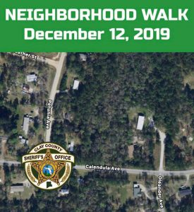 Map of middleburg area with neighborhood walk date listed and the sheriff's office badge