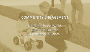 community engagement, neighborhood walks, ministerial alliance