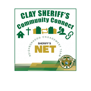 Sheriff's NET graphic with house, cross, people, and chain icons
