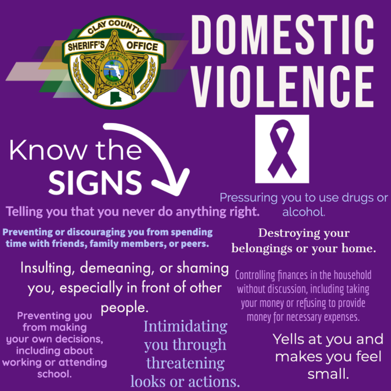 Domestic violence graphic with a purple background and wording about signs of domestic violence