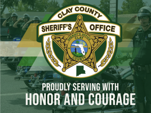 CCSO logo with a background of deputies saluting with the words proudly serving with honor and courage