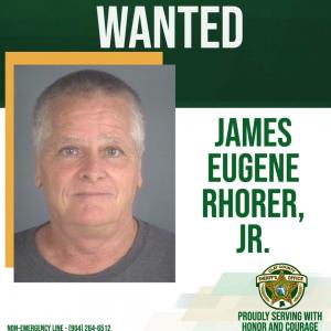 Wanted poster of James Eugene Rhorer, Jr