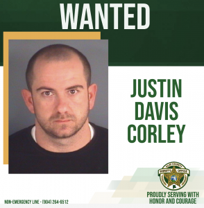 Justin Davis Corley wanted poster