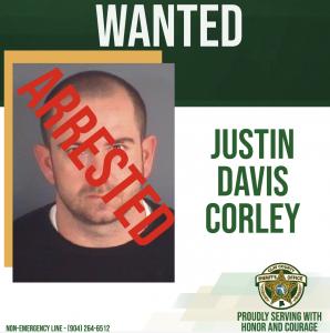 Justin Davis Corley wanted poster