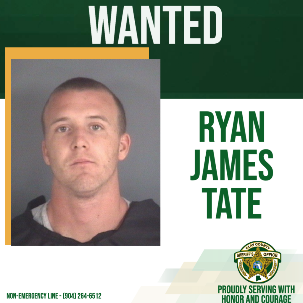 Wanted poster of Ryan Tate