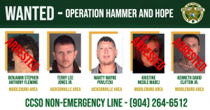 Images of five separate fugitives, three who are apprehended